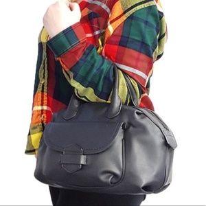 Handbags - Solid Black Tuck & Loop Satchel Purse Bag